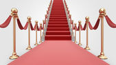 Staircase with red carpet 3D. Concept of success — Stock Photo