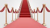 Trappa med röda mattan 3d. begreppet framgång — Stockfoto