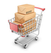 Market shopping cart with cardboard box. 3D Icon isolated  — Stock Photo