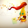 Autumn Background | Young Woman With Her Coffee To Go — Stock Vector #13547340