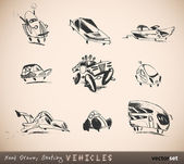 Hand Drawn, Sketchy Vehicles, Cars, Automobiles — Stock Vector