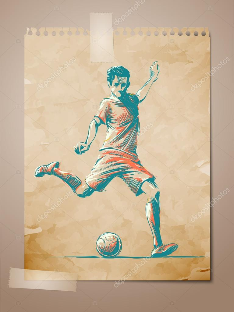 Football, Soccer Player Sketch on Aged Note Paper | EPS10 Vector Background | Layers Organized and Named — Stock Vector #13772496
