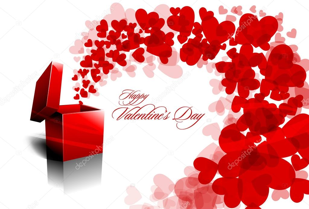 Valentine&#039;s Day Greeting Card with open Red box Spreading Hearts | EPS10 Vector Background | Separated on Layers Named Accordingly  Stock Vector #13772829
