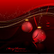 Christmas Card - Shiny 3D Christmas Balls And Decorated Backgrou - Stock Vector