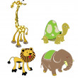 Vector animals - safari set — Stock Vector