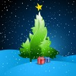 Christmas Background with Tree and Presents — Vettoriali Stock