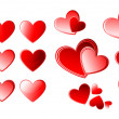 Set of valentine vector hearts — Vector de stock #13798719