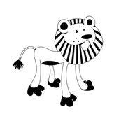 Lion - black & white animal series — Stock Vector