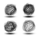 Black scribble balls — Stock Vector