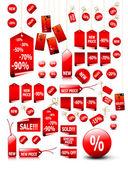 Grote set van vector prijskaartjes - kunt u het gebruiken voor elk moment van de verkoop — Stockvector
