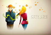 Autumn Background. City Life. — Stock Vector