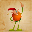 Happy elf on wooden background - vector image — Stock Vector