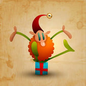Happy elf sitting on a gift on wooden background - vector image — Stock Vector