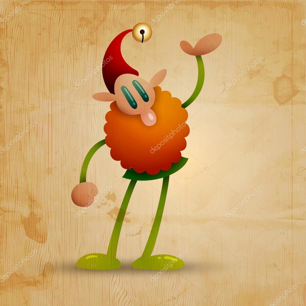 Happy elf on wooden background - vector image — Stock Vector #14628441