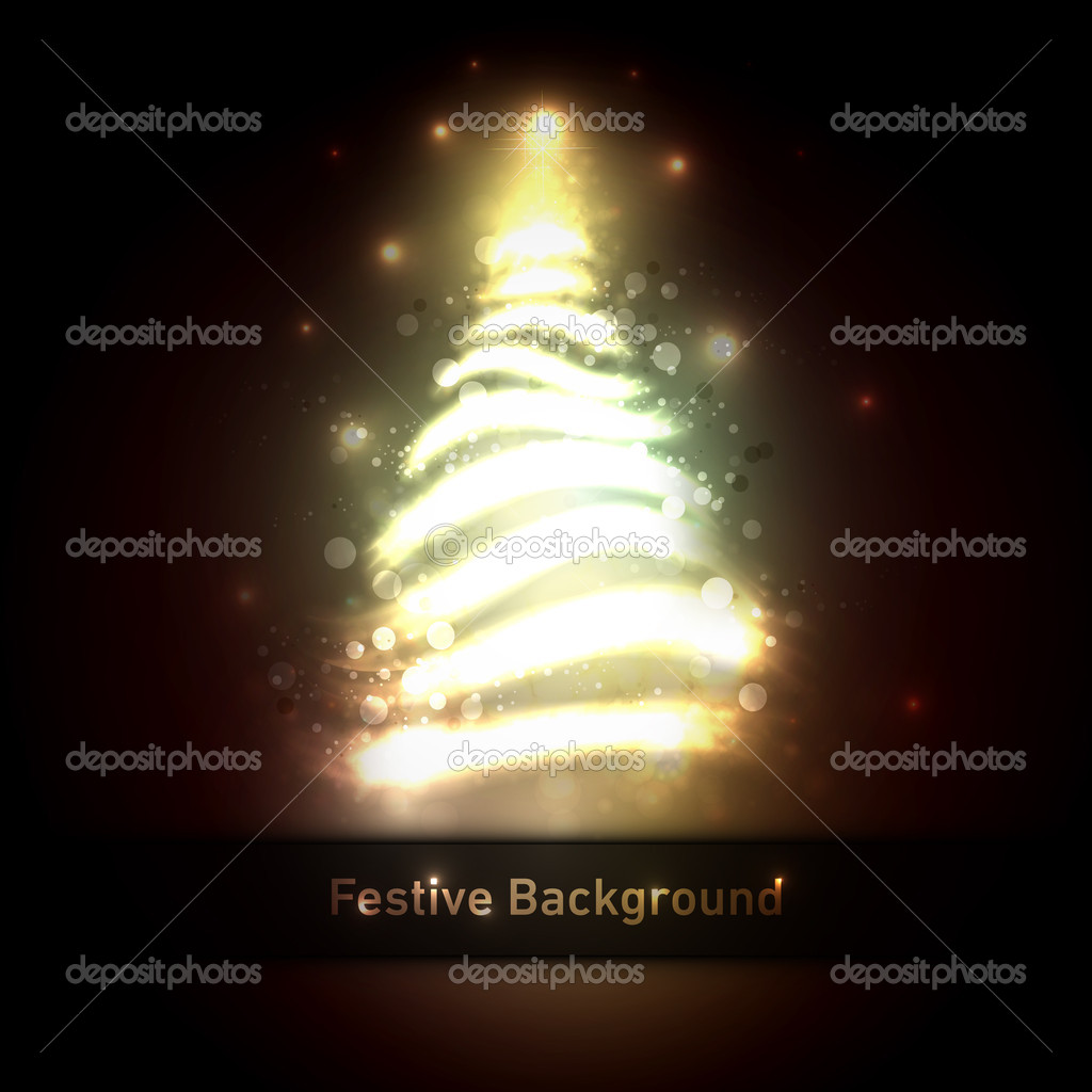 Dark Bronze Christmas Greeting With Tree Of Glittering Lights  Stock Vector #16127705