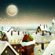 Peaceful Town Under Moonlight At Christmas Eve - Stock Vector