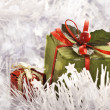 Christmas gift in Freezing Cold Winter Background — Stock Photo #31255223