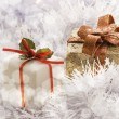 Christmas gift in Freezing Cold Winter Background — ストック写真