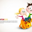 Cute Boy and Girl sitting on School Backpack — Stock Vector