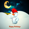 Snowman with Santa's Hat in Frozen Winter — Stock Vector