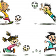 Children playing Football, Soccer and other Ball Games — Imagen vectorial