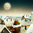 Peaceful Town Under Moonlight At Christmas Eve — Vettoriali Stock