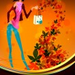 Autumn Shopping with Beautiful Woman — Stock Vector