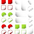 Big set of colorful and white blank labels, stickers, tags — Imagen vectorial