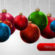 Christmas Banner with Colorful Globes — Vector de stock