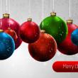 Vánoční banner s barevné koule — Stock vektor