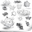 Comic Book Explosions - Vector Cartoon Elements — Stock Vector