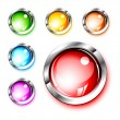 3D Icons: Blank Glossy Push Buttons — Stock Vector
