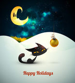 Cat with Christmas Globe alone in the snow under moonlight — Stock Vector