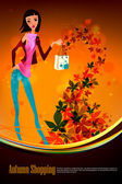Otoño de compras con mujer hermosa — Vector de stock