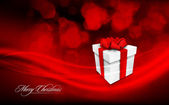 Глубокий красный рождественские открытки подарочные коробки и ленты телеканалов — Cтоковый вектор