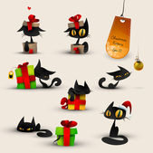 Collection of Christmas Kittens, Cats — Stok Vektör