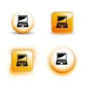 Liten uppsättning skinande blank computer ikoner — Stockvektor