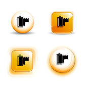 Small Set of Shiny Glossy Film Roll Negative Icons — Stock Vector