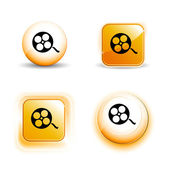 Small Set of Shiny Glossy Film Roll Icons — Stock Vector