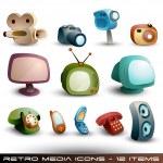 Cute Media Icons - Vector Set — Stock Vector