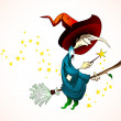 Spooky Halloween Witch holding a Magic Wand — Stock Vector #31554777