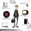 Business Man and his Environment — Stock Vector
