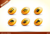6 Beautiful glossy Shiny 3D Icons - media collection - set — Stock Vector