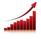 3d-grafiek weergegeven: stijging van de winst of inkomsten — Stockvector