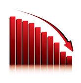 3d-grafiek weergegeven: daling van de winst of inkomsten — Stockvector