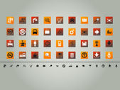 Set of 36 various orange theme vector buttons, icons — Stock Vector