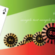 Isolated poker playing cards and bet ships in vector — 图库矢量图片