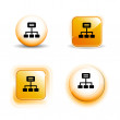 Small Set of Shiny Glossy Internet Connectivity Icons — Stock Vector