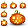 Spooky Vector Pumpkin Set - Different Facial Expressions — Stok Vektör