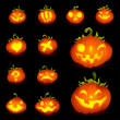 Spooky Vector Pumpkin Set - Different Facial Expressions — Stock Vector